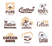 Cotton textile flat labels set. Organic product farm emblems and symbols for eco fabric and clothes vector illustration collection. Agriculture field and industry concept