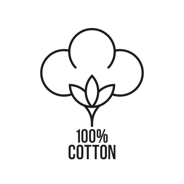 100% cotton. vector icon - cotton stock illustrations, clip art, cartoons, & icons