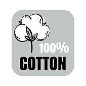 100% cotton vector sign with hand drawn cotton flower art