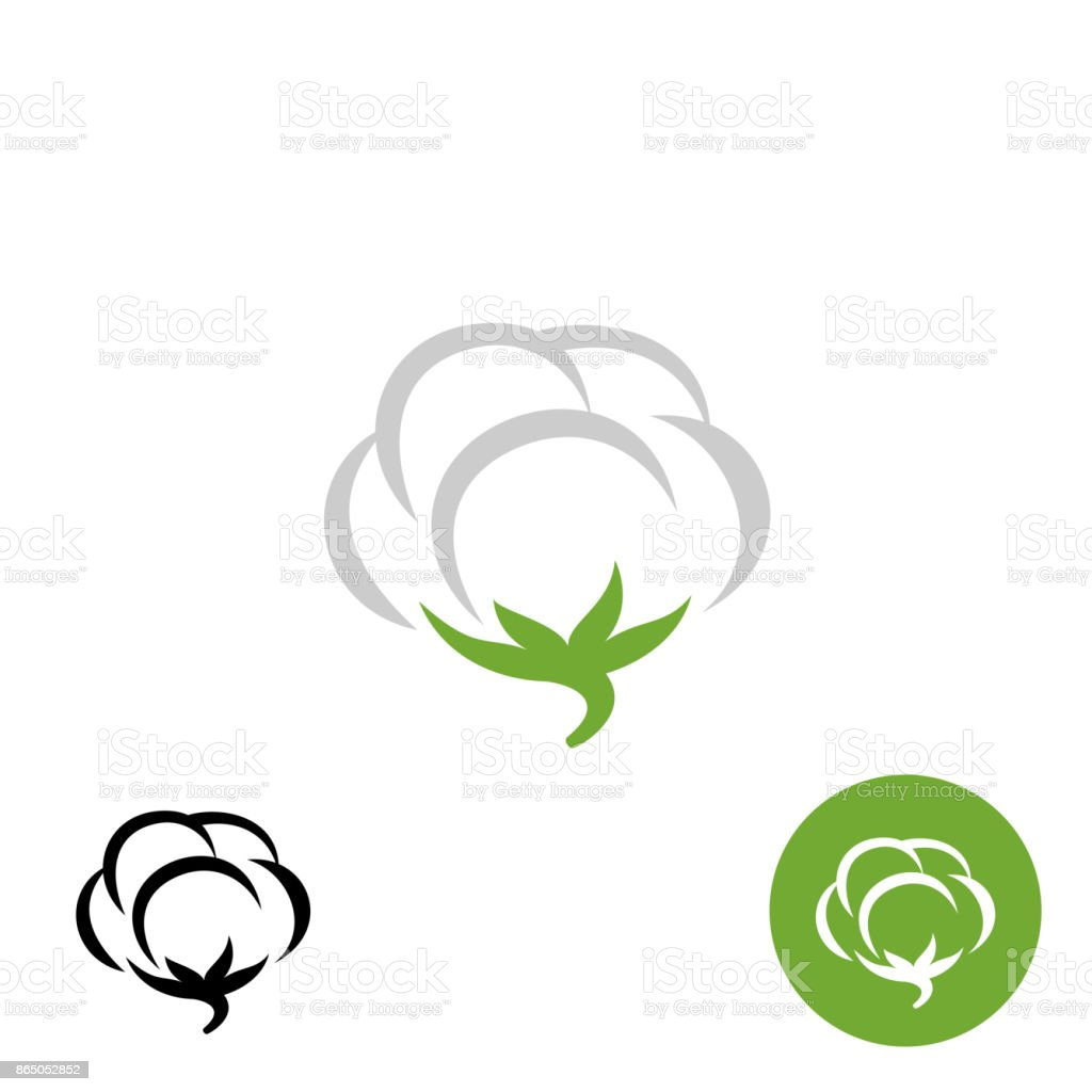 Cotton vector symbol with black and white one color variations vector art illustration