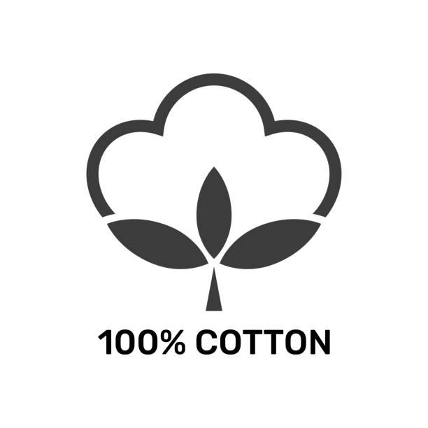 100% cotton - web black icon design. Natural fiber sign. Vector illustration. EPS 10 vector art illustration