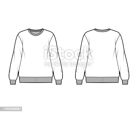 istock Cotton-terry oversized sweatshirt technical fashion illustration with relaxed fit, crew neckline, long sleeves jumper 1265666682