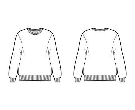 Cotton-terry oversized sweatshirt technical fashion illustration with relaxed fit, crew neckline, long sleeves jumper