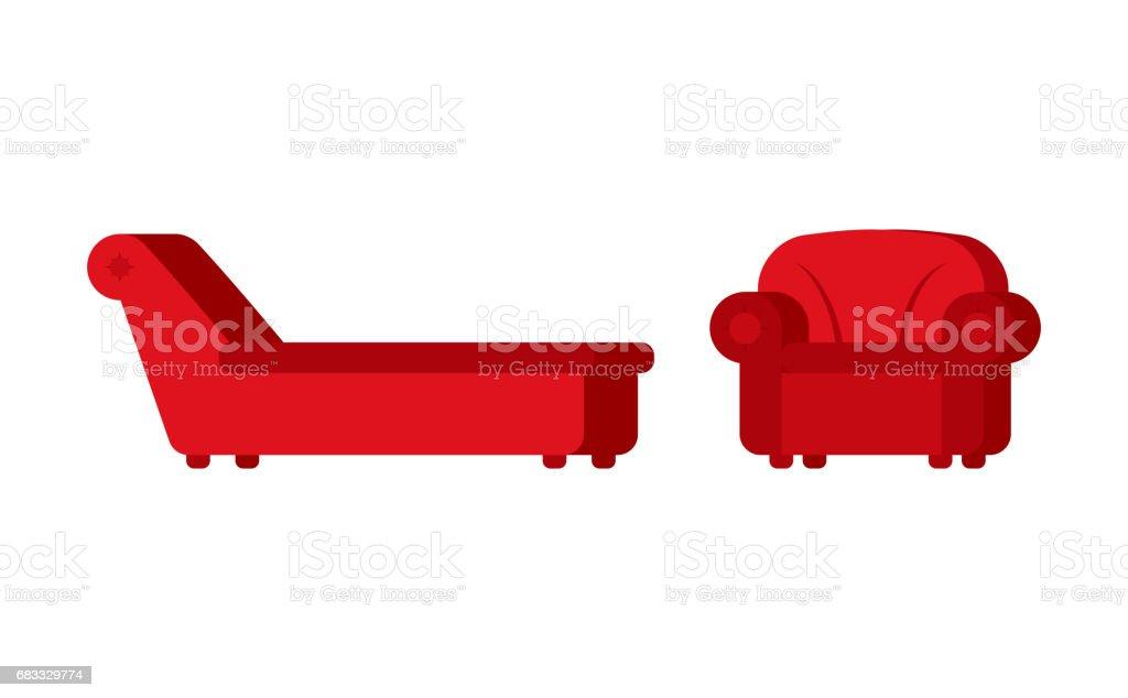 Couch und Sessel des Psychologen. Psychotherapeut-Möbel für Patienten – Vektorgrafik