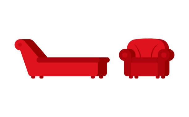 ilustraciones, imágenes clip art, dibujos animados e iconos de stock de sillón y silla del psicólogo. muebles de psicoterapeuta de pacientes - profesional de salud mental