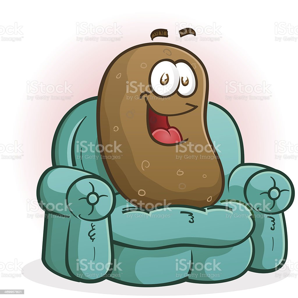 Couch Potato Cartoon Character vector art illustration