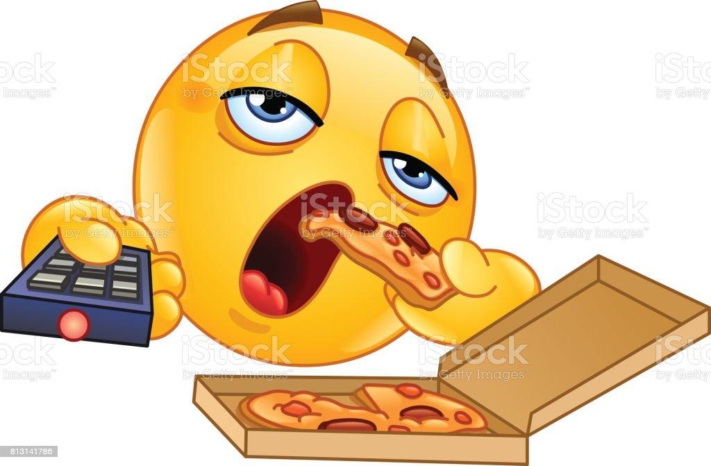 Couch potato emoticon vector art illustration