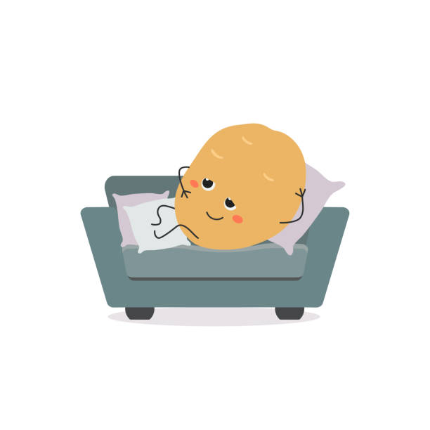 illustrations, cliparts, dessins animés et icônes de personnage de dessin animé drôle de patate de divan - emoji paresseux