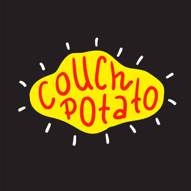 illustrazioni stock, clip art, cartoni animati e icone di tendenza di couch potato - simple inspire and motivational quote. english idiom, lettering. print for inspirational poster, t-shirt, bag, cups, card, flyer, sticker, badge. cute and funny vector sign - divano procrastinazione