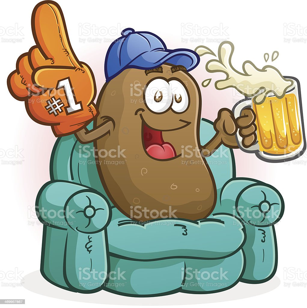 Couch Potato Sports Fan Cartoon vector art illustration