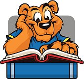 This cheerful Cougar is reading his way to success. this image is great for an school or education based design.