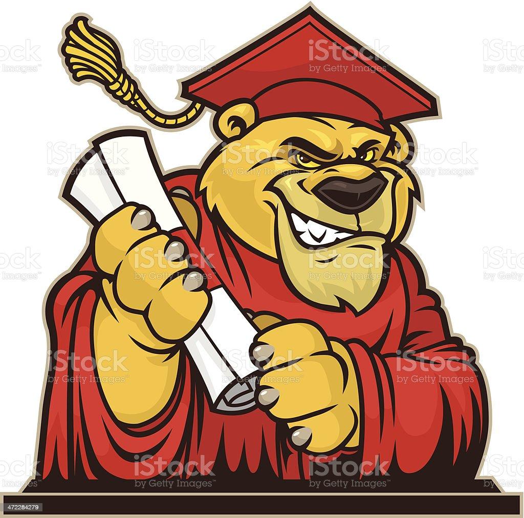 Cougar Graduate vector art illustration