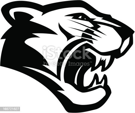 Stylized powerful cougar mascot, black and white version. No separated layers in this file.