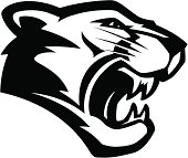 Cougar head mascot B&W