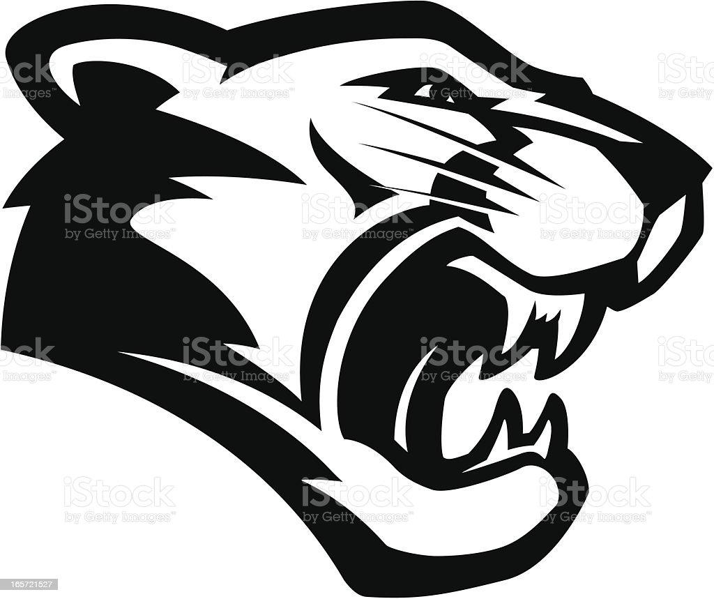 Cougar head mascot B&W vector art illustration