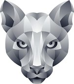 Stone cougar head on a white background