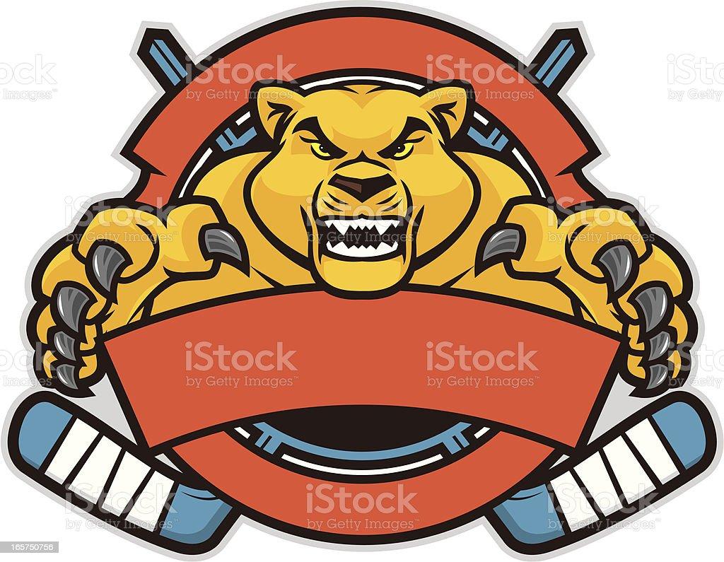 Cougar Hockey Design vector art illustration