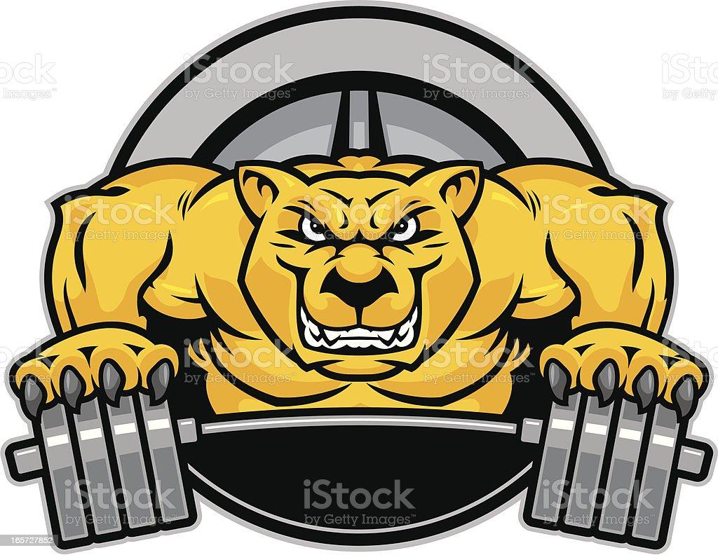Cougar Mascot Weights royalty-free stock vector art