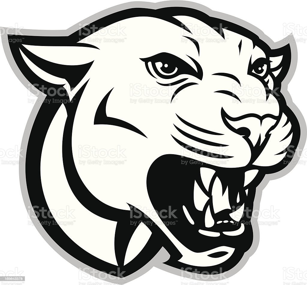 Cougar or Panther Head B&W vector art illustration