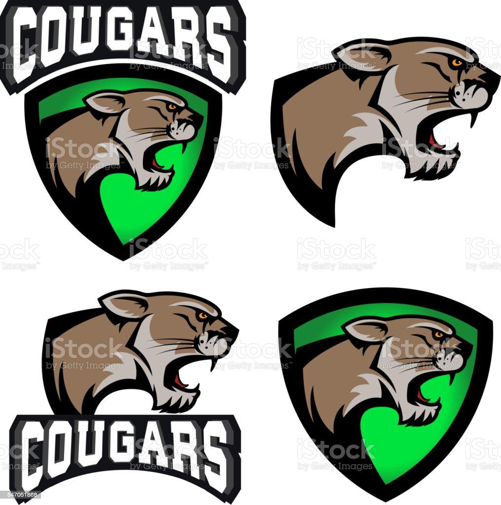 cougars.  sport team emblem template. vector art illustration