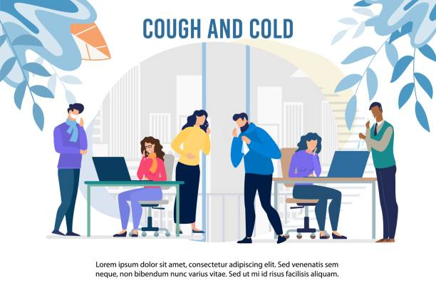 Cough and Cold Epidemic in Office Warning Banner Cough and Cold Epidemic in Office Warning Banner. Cartoon Man and Woman Workers Feeling Unwell Having Infection, Flu Symptoms. Health Protection with Pills and Vaccination. Vector Medical Illustration sore throat stock illustrations