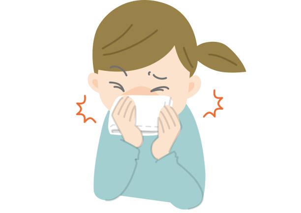 咳とくしゃみ - くしゃみ 日本人点のイラスト素材/クリップアート素材/マンガ素材/アイコン素材