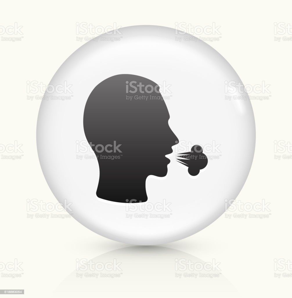 Cough icon on white round vector button vector art illustration