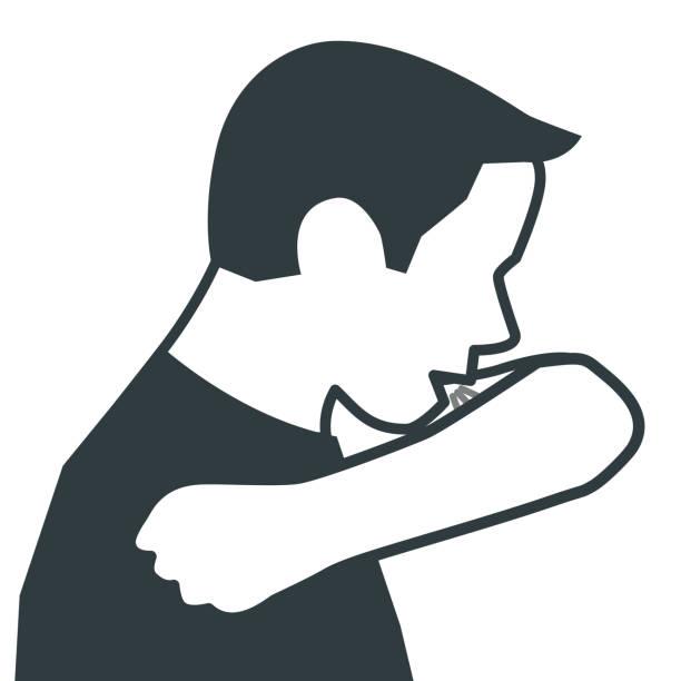 bildbanksillustrationer, clip art samt tecknat material och ikoner med hosta i böjd armbåge - sneezing