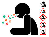 cough man with virus bacteria, icon, sign, symbol