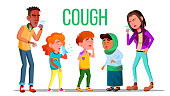 Cough People Vector. Coughing Concept. Sick Child, Teen. Sneeze Person Virus Illustration