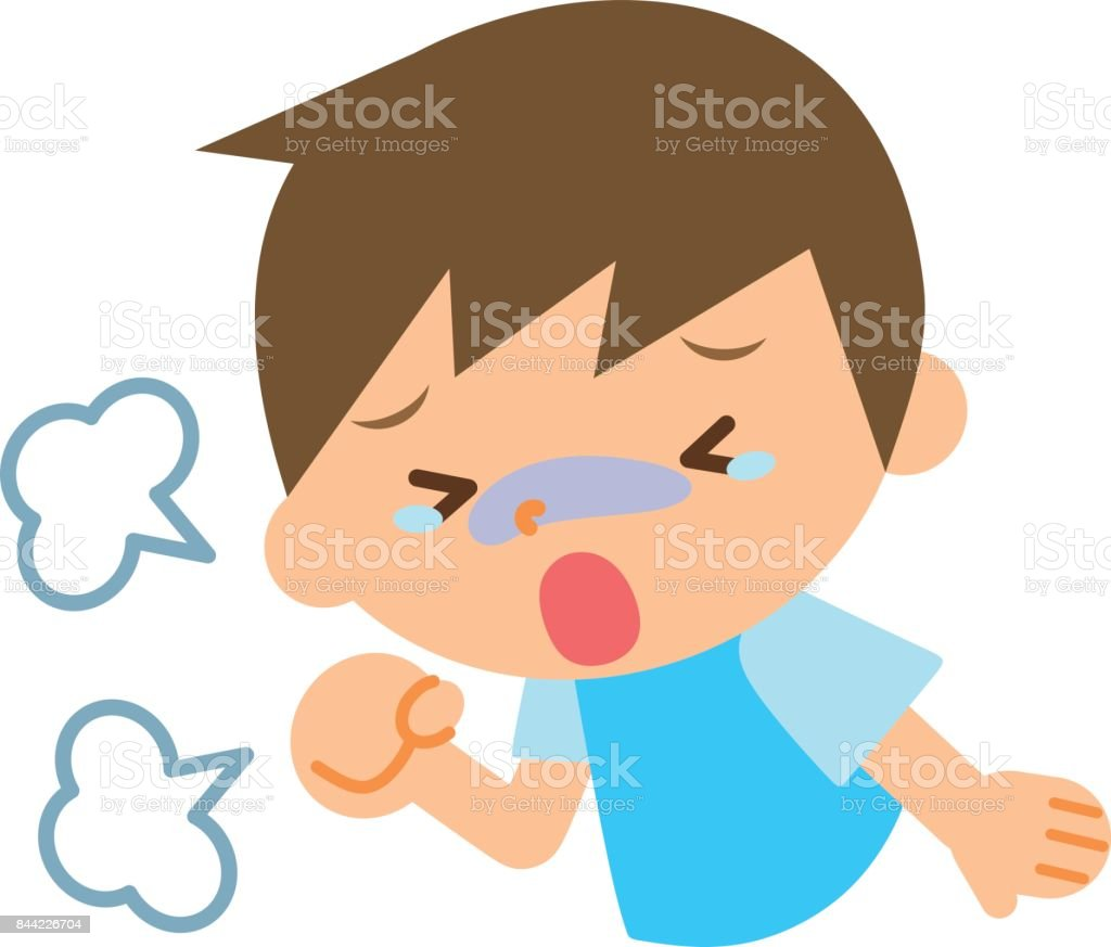 Coughing children vector art illustration