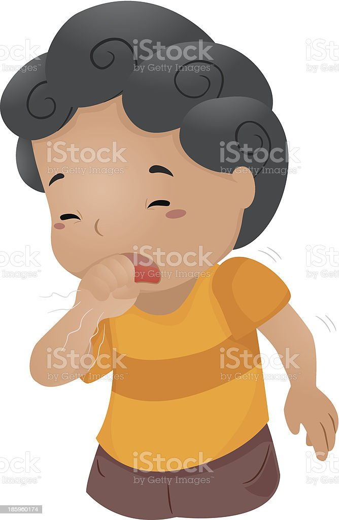 Coughing Kid vector art illustration