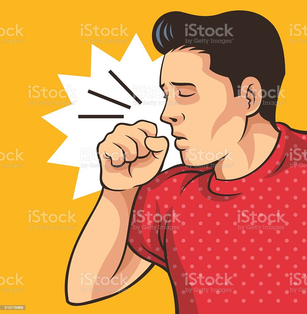 Coughing man. Vector flat illustration vector art illustration