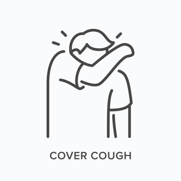 bildbanksillustrationer, clip art samt tecknat material och ikoner med ikon för hosta personlinje. vektor kontur illustration av människan nysningar i armbågen. symptom på influensa - sneezing