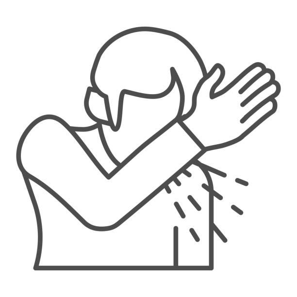 bildbanksillustrationer, clip art samt tecknat material och ikoner med hostar regler tunn linje ikon. man nyser eller hostar med sin hand kontur stil piktogram på vit bakgrund. sputum corona virus spridning för mobilt koncept och webbdesign. vektorgrafik. - endast en man
