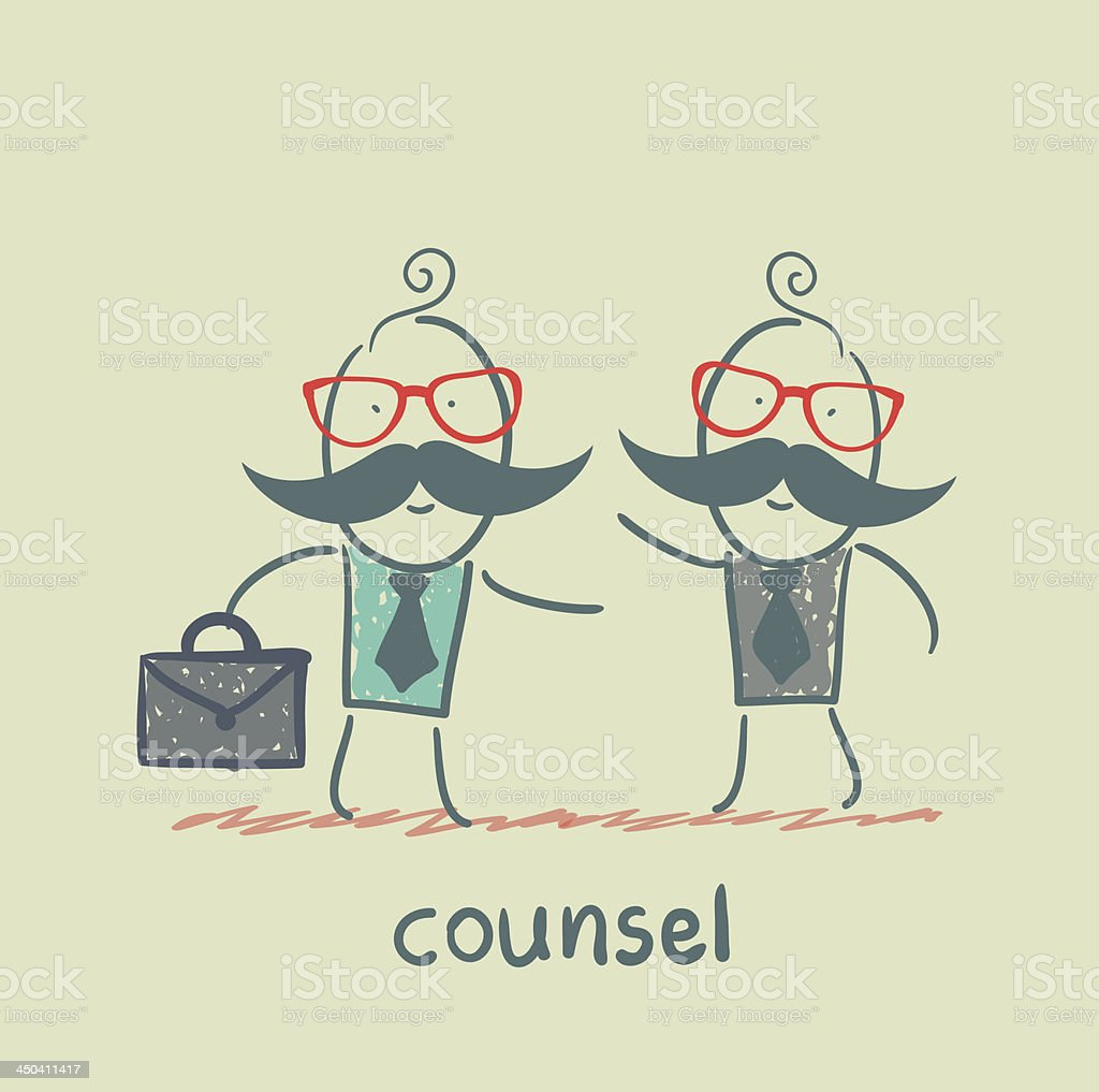 counsel speaks with a client royalty-free stock vector art