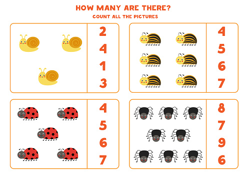Count all cute insects and circle the correct answers. Math game for kids.