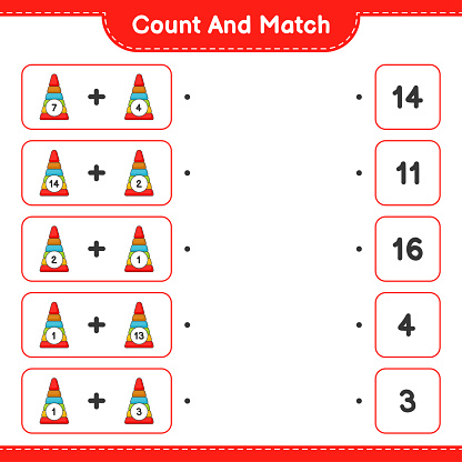 Count and match, count the number of Pyramid Toy and match with the right numbers. Educational children game, printable worksheet, vector illustration