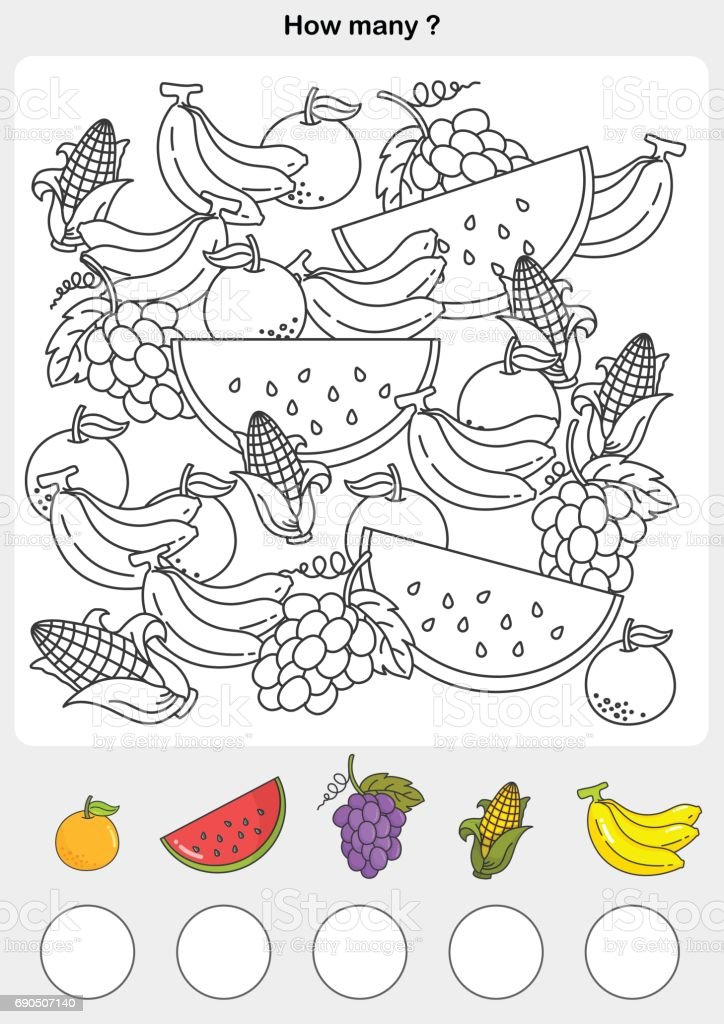 Meyve Renk Sayısı Ve Boyama Stok Vektör Sanatı Anaokulunin Daha