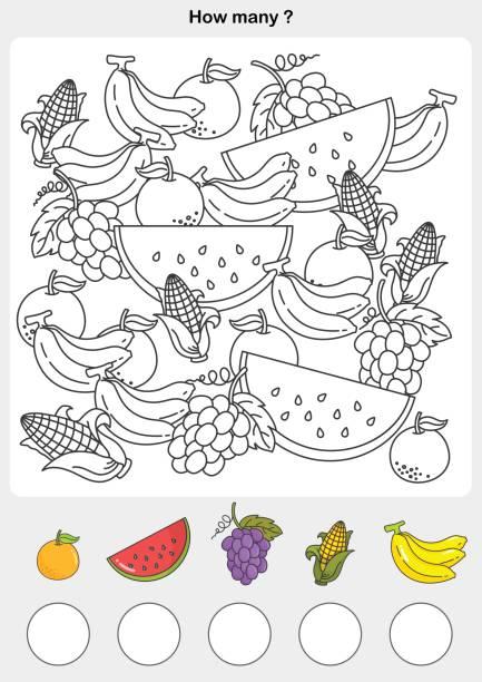graf und malerei farbe der früchte - zahlenspiele stock-grafiken, -clipart, -cartoons und -symbole