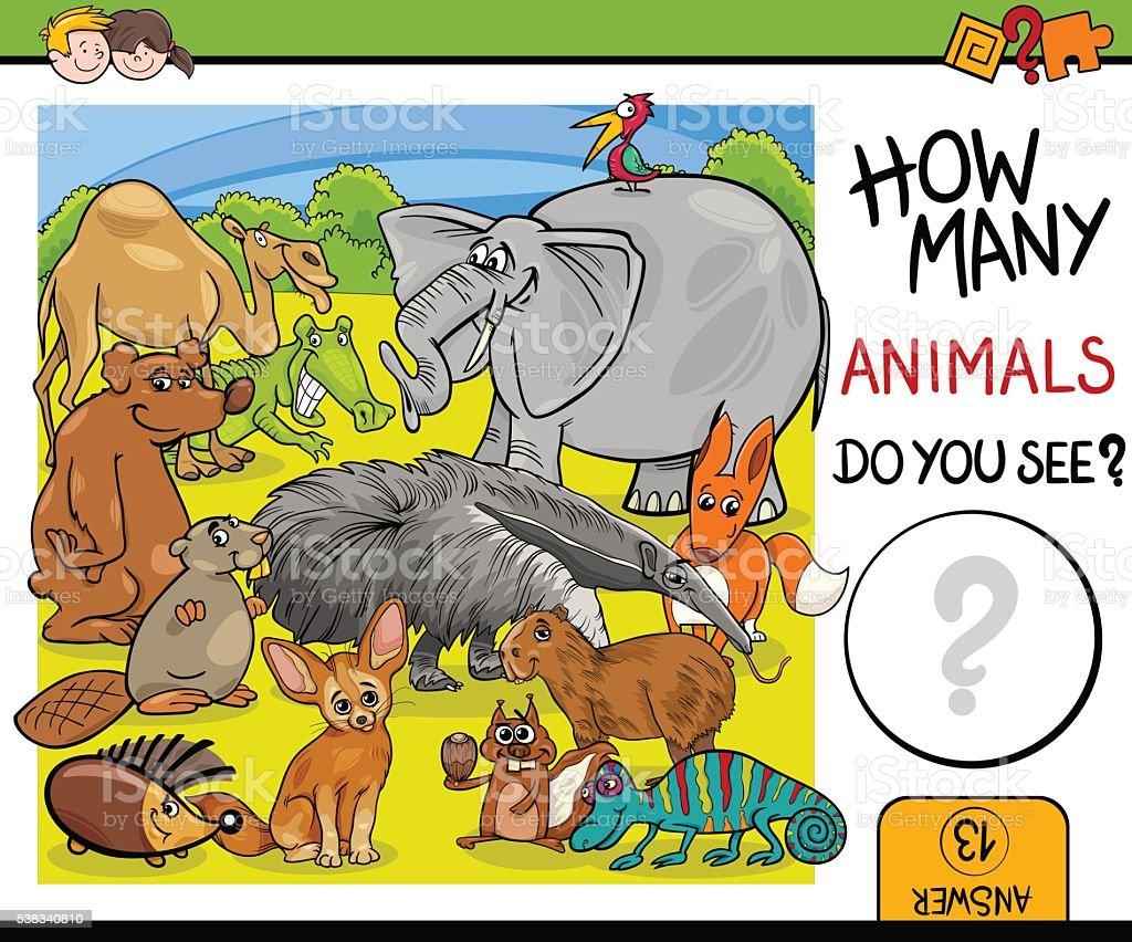 count animals activity for children vector art illustration