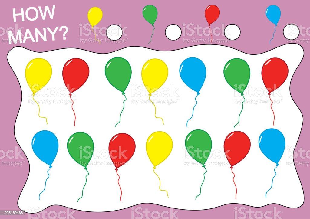 Wie Viele Luftballons Farben Lehre Zählen Kinder Spiel Zählen Stock ...