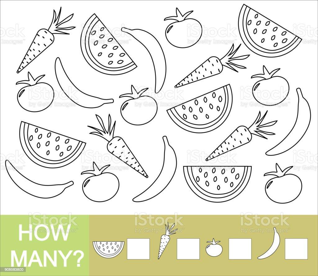 Kaç Meyveler Meyveler Ve Sebzeler Saymak Boya Nesneler Sayılar