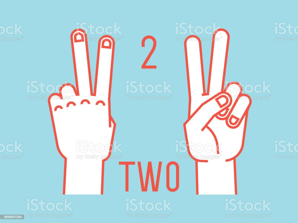 Count On Fingers Number Two Gesture Stylized Hands With