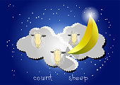 count sheep. sheeps in the night sky with stars and moon