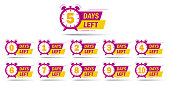 Countdown 1, 2, 3, 4, 5, 6, 7, 8, 9, 10 days left label or emblem set. Day left counter icon with clock for sale promotion, promo offer. Flat badge with number of count down time. vector isolated