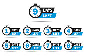 Countdown 1, 2, 3, 4, 5, 6, 7, 8, 9, days left label or emblem set. Day left counter icon with clock for sale promotion, promo offer. Flat badge with number of count down time. vector isolated