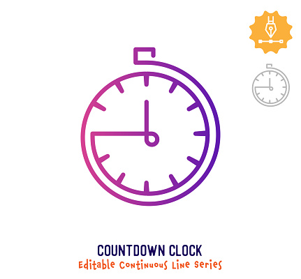 Countdown Clock Continuous Line Editable Stroke Icon