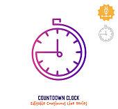 istock Countdown Clock Continuous Line Editable Stroke Icon 1264363322