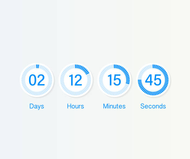 countdown clock counter timer. UI app digital count down circle board meter with circle time pie diagram. Scoreboard of day, hour, minutes and seconds for web page coming soon event template Vector countdown clock counter timer. UI app digital count down circle board meter with circle time pie diagram. Scoreboard of day, hour, minutes and seconds for web page coming soon event template counting stock illustrations